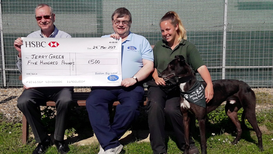 Presentation of cheque to Jerry Green Dog Rescue representatives
