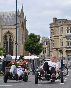 Cyclists in Boston Market Place