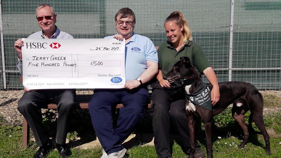 Presentation of cheque to Jerry Green Dog Rescue representatives
